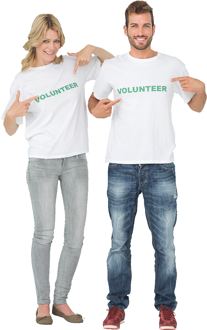 man and woman volunteer